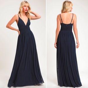 Lulus Queen of the Evening Navy Blue Maxi Dress M